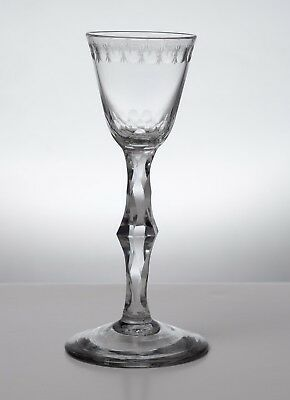 Georgian Antique English Lead Glass Facet Stem Knopped OXO Band Wine Glass