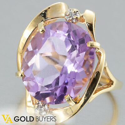 1980s Fine Vintage Estate Retro 14k Yellow Gold Amethyst Ring w/ Diamond Accents