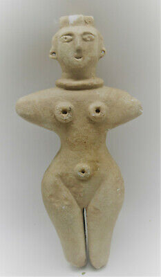 Circa 3000Bc Ancient Near Eastern Crystal Carved Stone Idol Mother Goddess