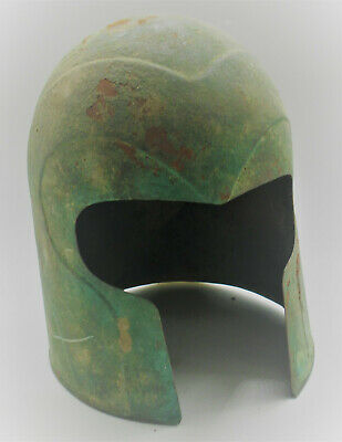 Extremely Rare Ancient Greek Archaic Bronze Warriors Helmet 600-500Bce Perfect