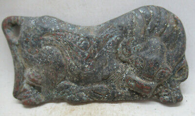 Ancient Roman Near Eastern Bronze Mount In The Form Of A Recumbant Bull