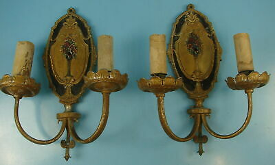 Pair of 2 Ornate Double Arm Candle Stick Vintage Electric Wall Candle Sconces