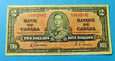 1937 Bank of Canada 2 Dollar Note - GORDON/TOWERS - VF25