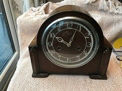 Vintage Art Deco Wooden Mantel Clock- Smiths Enfield