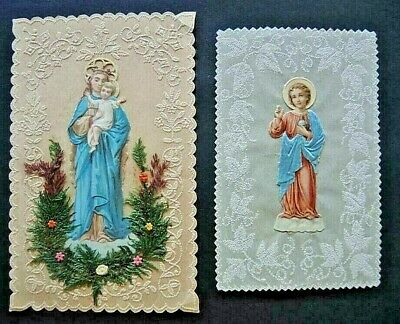 2x Andachtsbild  Klosterarbeit  holy cards  santini  image pieuses  LUXUSPAPIER