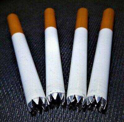 """Grinder Tipped One Hitter Cigarette Pipes 3"""" Metal Bat 4"""" Dugout SHARP  4pk"""