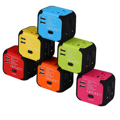 Color Dual USB Plug Charger Universal World Travel Adapter Power UK US EU AU  KA