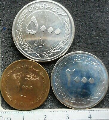 WORLD COINS - 3 Coins - 1000 + 2000 & 3000 Rials (mixed dates/nice coins) (1984)
