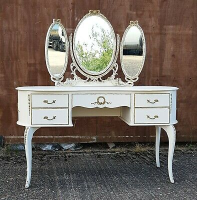 Vintage Olympus French Louis dressing table, mirrored, shabby chic, gilt, rococo
