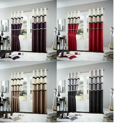 Luxury Panama Curtain Faux silk Fully Lined Eyelet Ring top Pair of Curtains