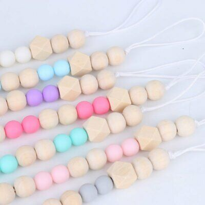 Baby Infant Wooden Beaded Pacifier Holder Clip Nipple Teether Dummy Chain KA