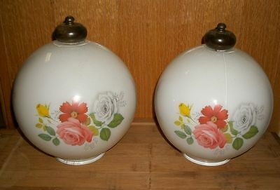 Set of 2 Antique Vintage Flower Light Fixture Globes