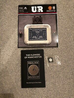 THE FLOWERS OF MANCHESTER UNITED hardback BOOK, PIN & Match PROGRAMME collect