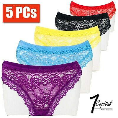 5 PCs Women Ladies Floral Lace Bikini Panty Panties Bikini Briefs Underwear M-XL