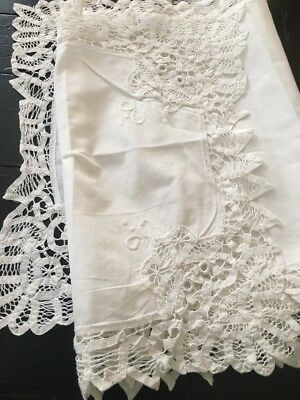 """White Cotton Table Cover Runner Hand Made Lace 50""""x14"""" Long *"""