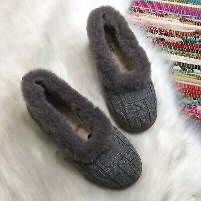4054cb79cde UGG AUSTRALIA WOMENS Rylan Knit Slippers US 7 Gray Shearling Lined 3314  (CL1)