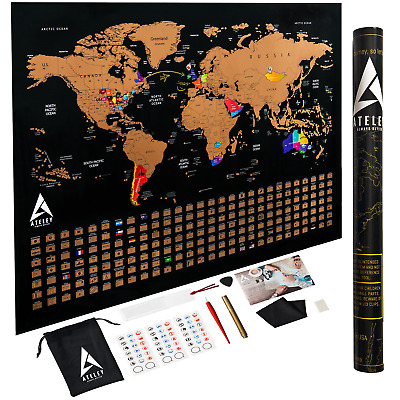 Scratch off Map of the World XL Poster - US States outlined - Extra Large...
