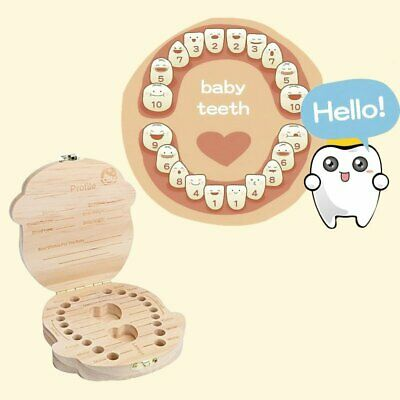 Baby Tooth Box Organizer Save Milk Teeth Wood Girl Kids Storage Fairy Case KU