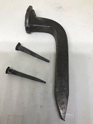 1 - Custom Blacksmith Hand Forged Iron Railroad Spike Hook With 2 Forged Nails