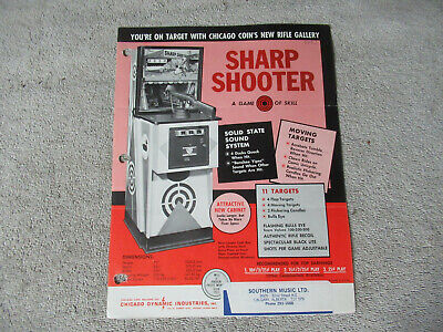 sharp shooter  rifle  HOLE PUNCHED   ARCADE GAME  FLYER