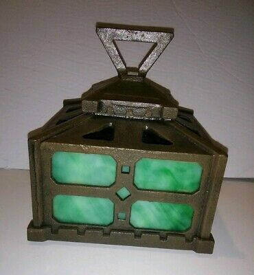 Antique Arts & Crafts Iron Green Slag Glass Hanging Light Fixture Top Mission