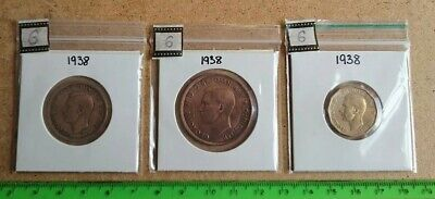 Set of 3 English OLD (HALF, ONE & 3p) coins (1938) in cardboard and plastic case