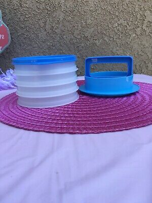 TUPPERWARE Hamburger Press with 4 Storage Containers and 1 Seal BLUE
