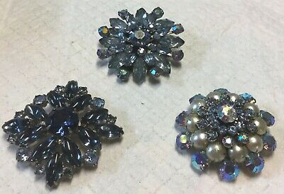GORGEOUS Lot of 3 Vintage JULIANA Style Blue Rhinestone Crystal Brooches Pins