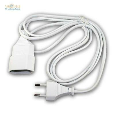 Euro Extension White, Extension Cable with Euro Plug & Euro Coupling Flat