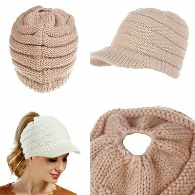 Women' Ponytail Beanie Skull Cap Winter Soft Stretch Cable Knit High Bun Hat KU