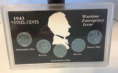 1943 US Steel Cent Lincoln Wheat Pennies Wartime Emergency Issue In Holder