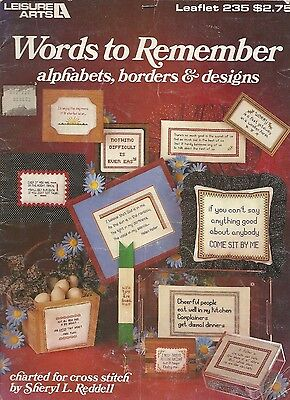 Words to Remember- Alphabets, Borders & Designs Vintage Cross Stitch Patterns