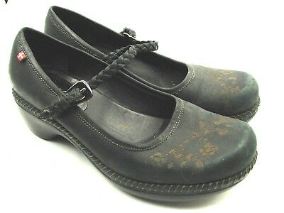 2d27351639564 ECCO Sussex Black Quality Mary Jane Floral Braided Strap Shoes sz 38 US 7 -  7.5