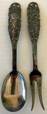 Vintage Norwegian Artist Saethers Gull Silver Ornate Serving Spoon & Fork Set
