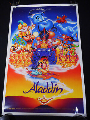 Aladdin 1992 * Robin Williams * Disney Animation * Ds One Sheet * Mint Unused!!