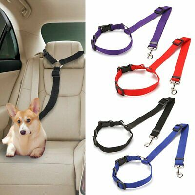 2Pcs Dog Cat Safety Seat Belt Strap Car Headrest Restraint Vehicle Adjustable KU