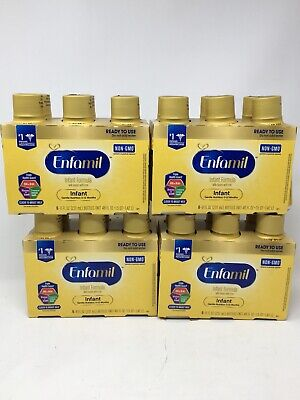 ENFAMIL READY TO USE INFANT FORMULA NON-GMO 8 oz Pack of 6 x 4 = 24 Bottles
