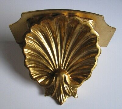 Vintage Old Stock Classic Shell Gold Leaf Gilt Wall Italian Sconce Bracket