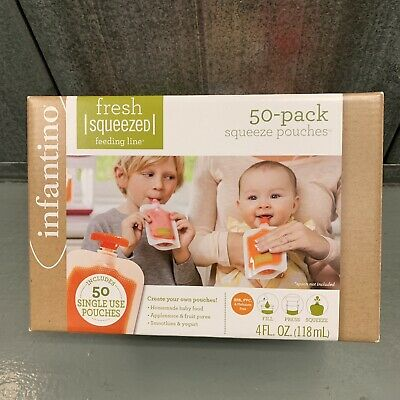 Infantino 50 Pack Squeeze Pouches, Fresh Squeezed, Homemade Baby Food, 4 OZ