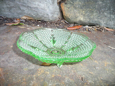 Vintage Art Deco Green Depression Glass Hob Nail Scalloped Edge Footed Bowl