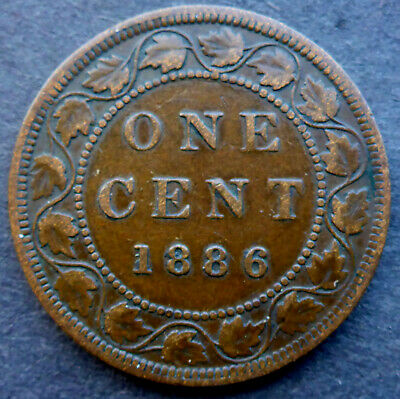 1886 Cent Canada High Grade Scarce Date Problem Free Coin Queen Victoria 134 Yea