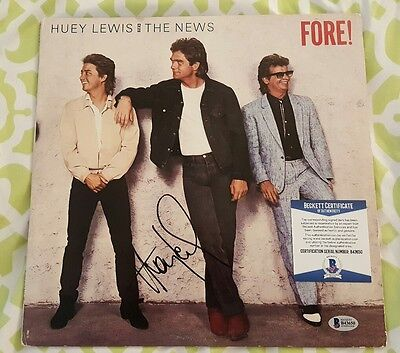 Huey Lewis signed vinyl LP record Fore! Beckett / BAS #B43650