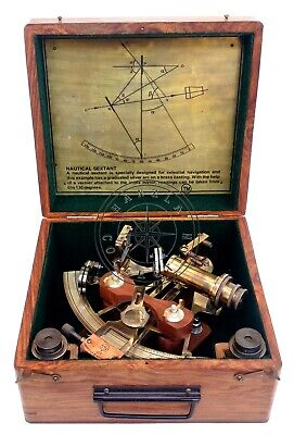 "8"" Henry Barrow Nautical Sextant Antique Brass Ship Astrolabe With 2 Telescope"
