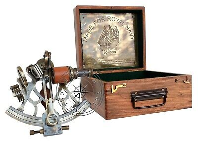 "8"" Nautical Collectible Working Sextant With Box Marine Antique Brass Astrolabe"