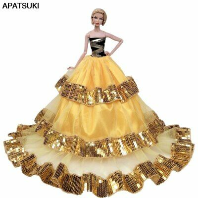 "Gold Sequin Fashion Wedding Dress for 11.5"" Doll Clothes Big Evening Dresses 1/6"