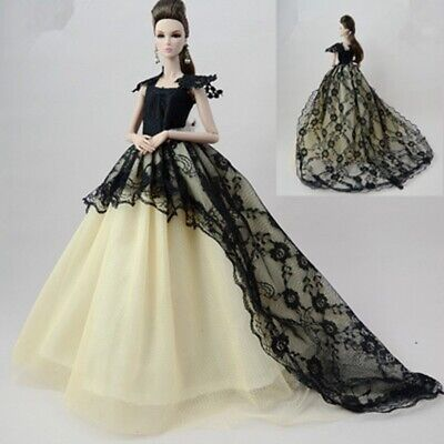 "Doll Dress for 11.5"" Dolls Long Tail Evening Gown Clothes Lace Wedding Dress Toy"