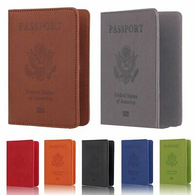 Passport Travel Leather Organizer Holder RFID Blocking Card Case Cover Wallet KU