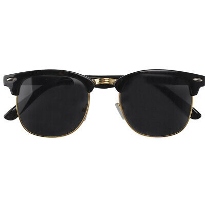 Unisex Women Men Sunglasses New Classic Round 1980's Full UV400 Black Gold UK