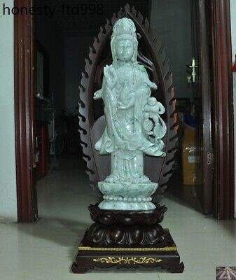 "38""Huge China Natural Emerald Jade Jadeite Carved Kwan-Yin Guanyin Buddha Statue"