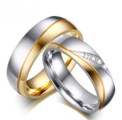 18K Gold Plated CZ Stainless Steel Couple Ring Men/Women Wedding Band Size 5-13